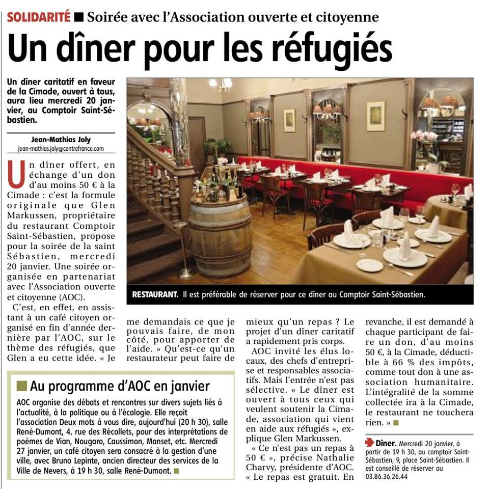 Nevers un restaurant s 39 engage pour les migrants for Article de restaurant