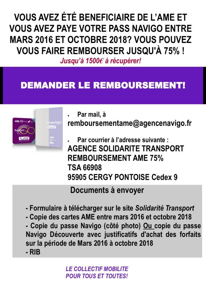 demande de carte navigo Remboursement du pass Navigo pour les bénéficiaires de l'AME   La