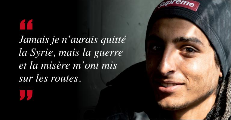 """Hakim migrant syrien bloquéHakim témoigne """"Je n'aurais jamais quitté mon pays mais la guerre et la misère m'ont mis sur les routes"""""""