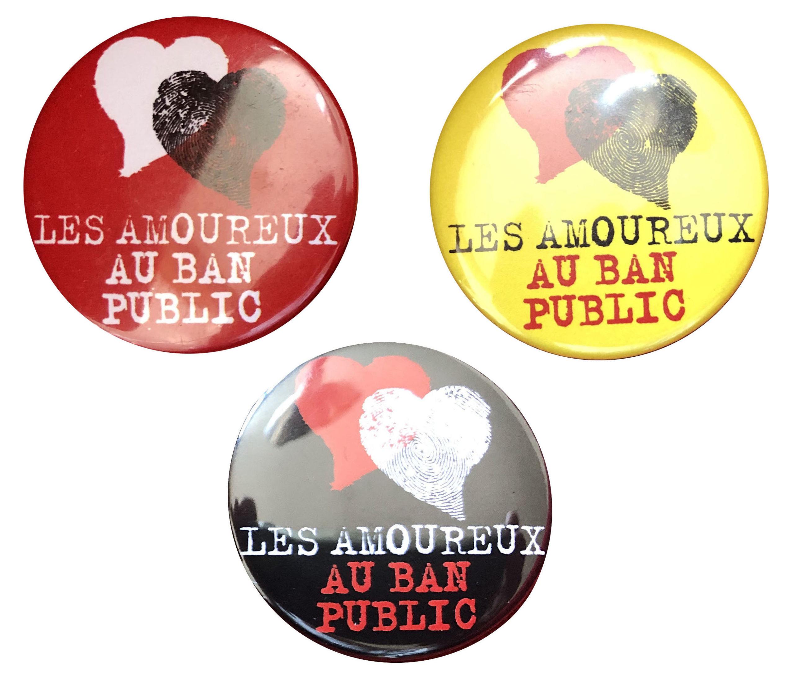 Cadeau militant et solidaire : 3 badges collector des Amoureux au ban public