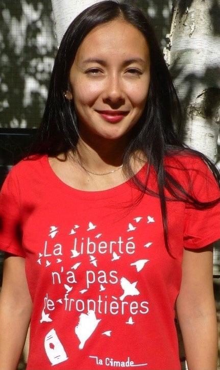 Cadeau militant et solidaire : t-shirt femme Liberté de la Cimade