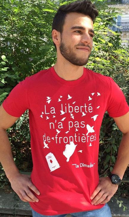 Cadeau militant et solidaire : t-shirt homme Liberté de la Cimade