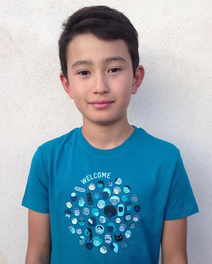 """Cadeau militant et solidaire : T-shirt enfant """"Welcome"""" de La Cimade"""